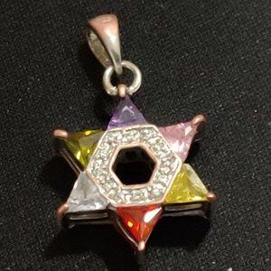 Sterling Silver Jewish Star of David PENDANT GEMS